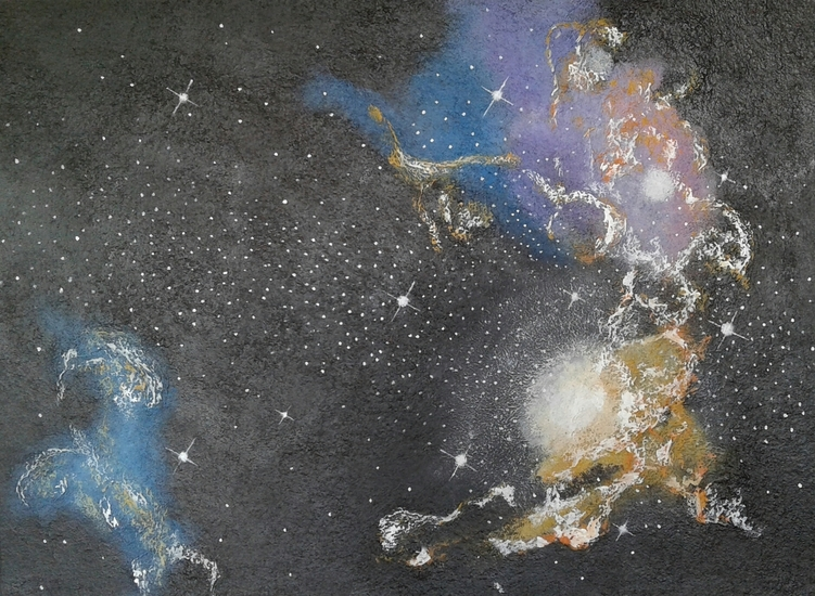 Sterrenstelsels in oranje en paars