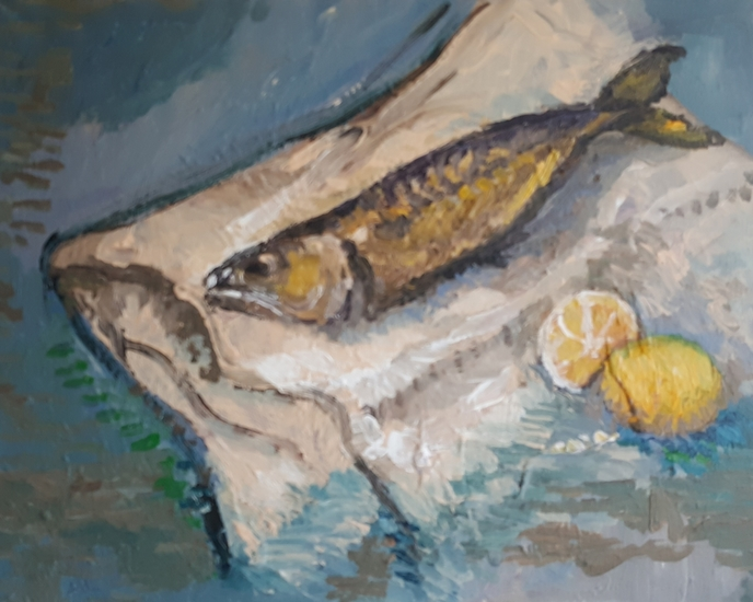 Mackerel on the blue table