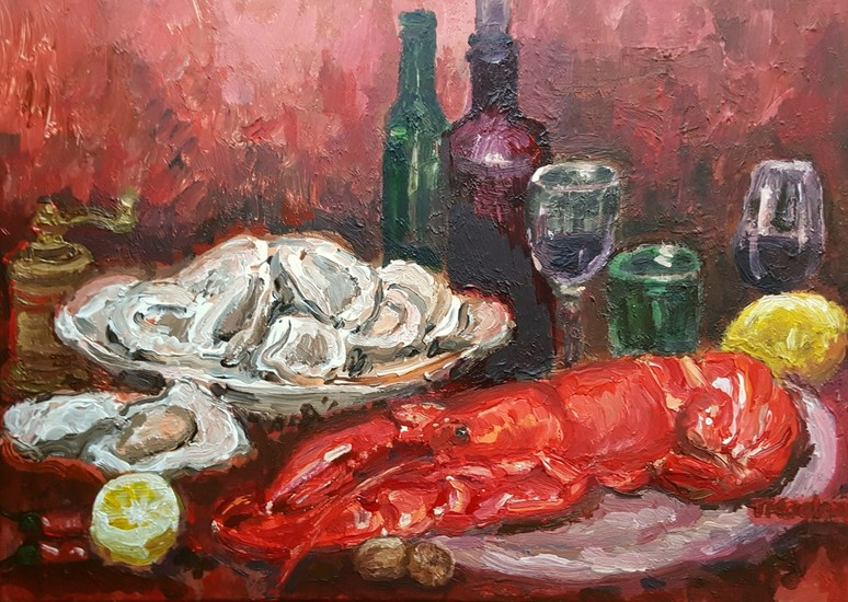 Red lobster still life
