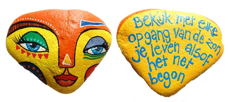 painted rock yellow mask