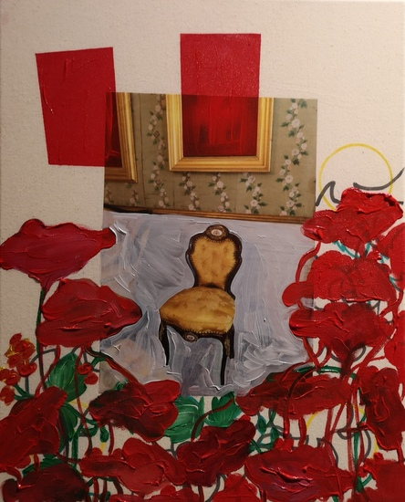 A room with two red paintings