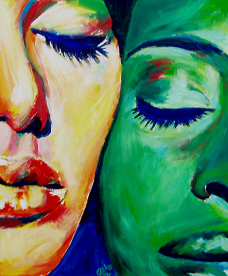 Two woman, one hour painting