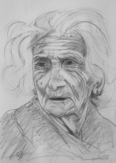 Old woman with white hair