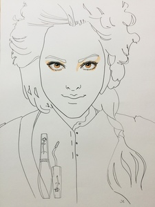 Portrait illustratie in pen en inkt en aquarel